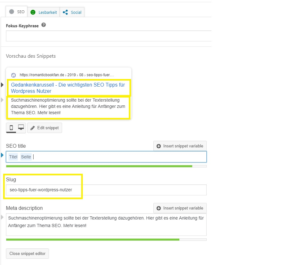 screenshot Yoast SEO Plugin